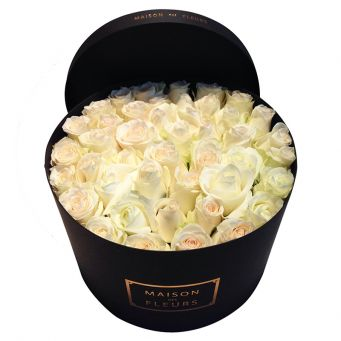 White Roses Enclosed in Black Round Box