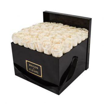 Cream Roses in Black Square Box