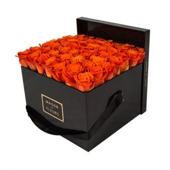 Orange Roses in Black Square Box