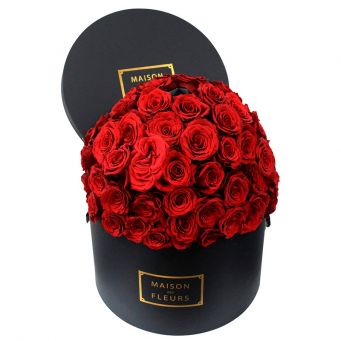 Red roses full dome in mdf black round box