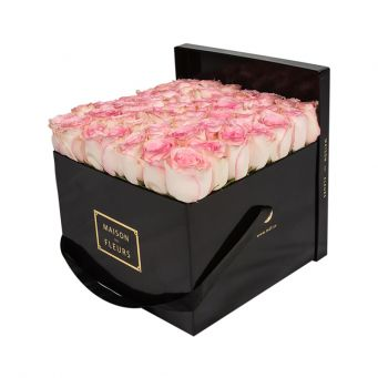 Baby Pink Roses in Black Square Box