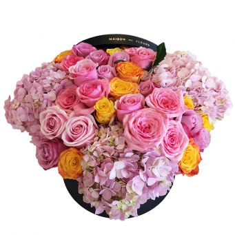 Pink and Yellow Roses with Hydrangeas in Black Round Box