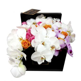 White Orchid Stems and Multi-color Roses