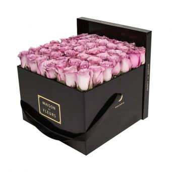 Purple Roses in Black Square Box