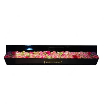 Multi-color Mixed Flowers in Black Small Rectangular Box