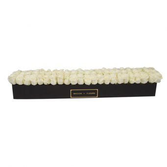 66 White Roses in Black Small Rectangular Box