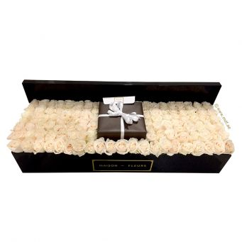 Cream roses in mdf black large rectangular box (gift not included)