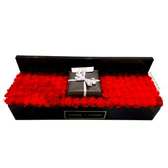 Red Roses in Large Rectangular Box