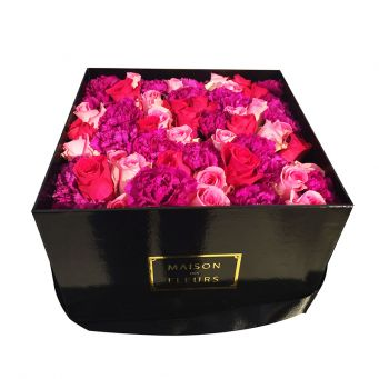Mixed Red, Pink and Fuchsia Flowers in Black Square Box