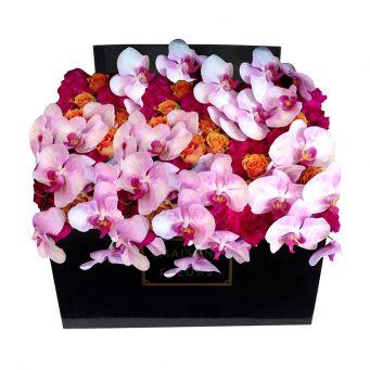 Light Purple Orchid Stems, Orange Roses and Fuchsia Carnations