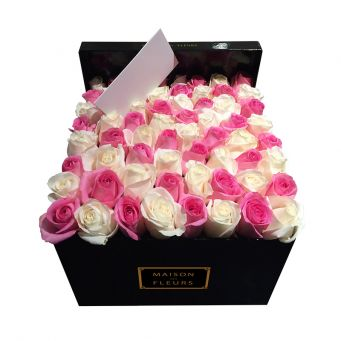 White and Pink Roses in Black Square Box