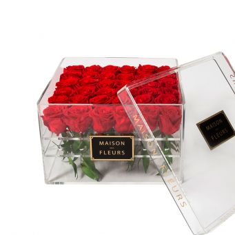 36 long life red roses in acrylic clear square box