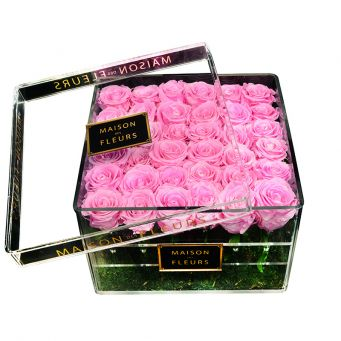 36 long life pink roses in acrylic clear square box