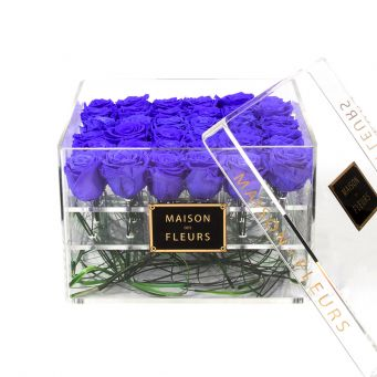 36 long life blue roses in acrylic clear square box