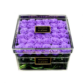 36 long life purple roses in acrylic clear square box