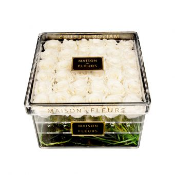 36 long life white roses in acrylic clear small square box
