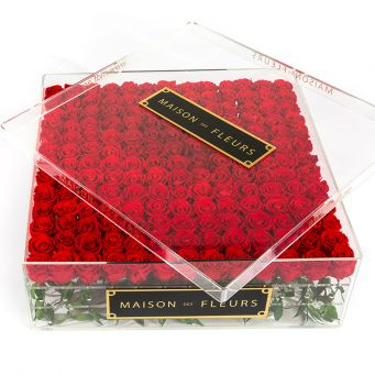 196 Long Life Roses with Crystal Acrylic Box