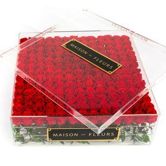196 Long Life Roses with Crystal Acrylic Box