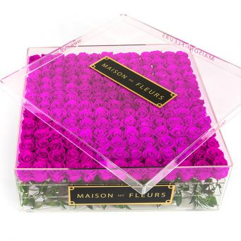 196 Long Life purple Roses with Crystal Acrylic Box