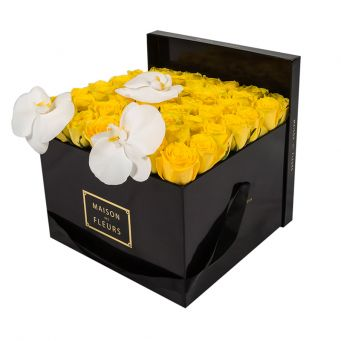 3 White Orchid Blooms and Yellow Roses in Black Square box