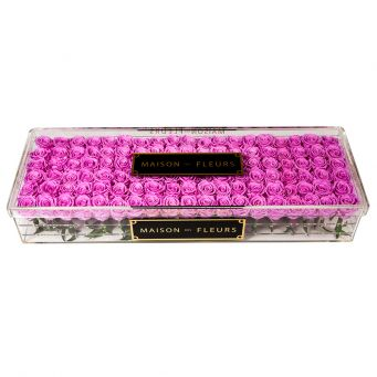 114 long life roses in acrylic clear large rectangular box