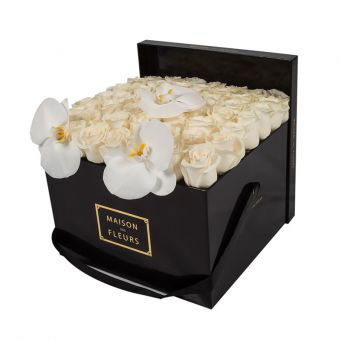 3 White Orchid Blooms and Cream Roses in Black Square box