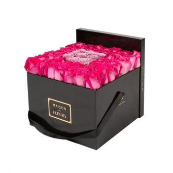 Fuchsia Roses in Black Square Box with 9 Purple Roses