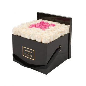 Cream Roses in Black Square Box with 9 Pink Roses
