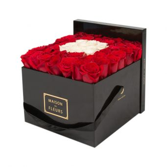 Red Roses in Black Square Box with 9 White Roses