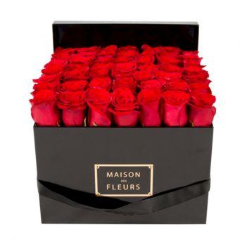 49 long life roses in mdf black square box