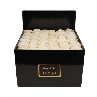 49 long life white roses in mdf black square box