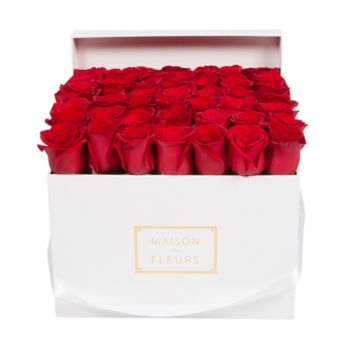 49 long life roses in mdf white square box