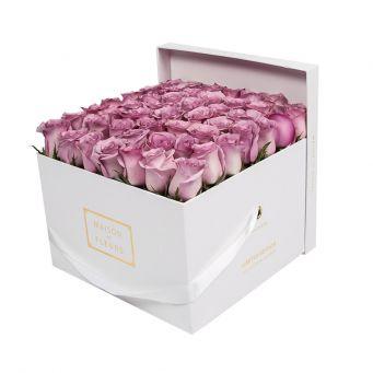 Purple Roses in White Square Box