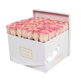 Baby Pink Roses in White Square Box