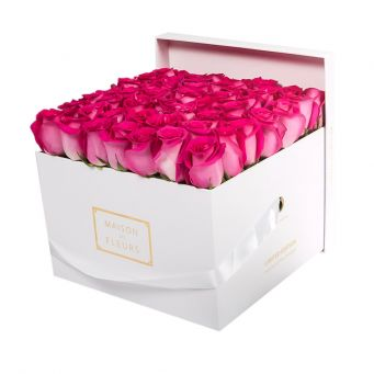 Fuchsia Roses in White Square Box