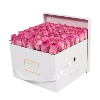 Pink Roses in White Square Box