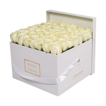 White Roses in White Square Box
