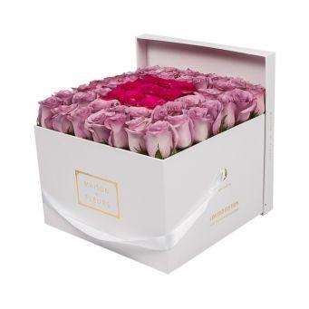 Purple roses in Big Square Box