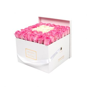 Pink Roses in White Square Box with 9 Cream Roses