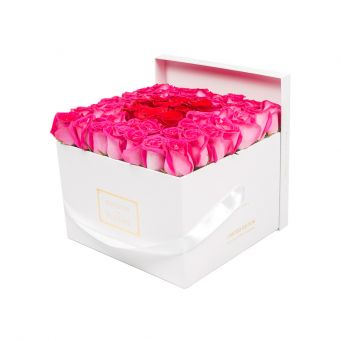 Fuchsia Roses in White Square Box with 9 Red Roses