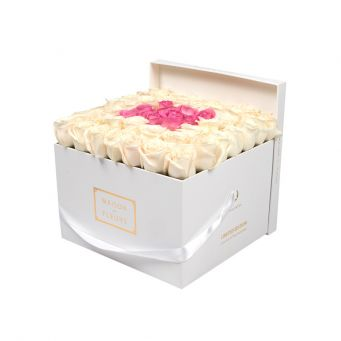 Cream Roses in White Square Box with 9 Pink Roses