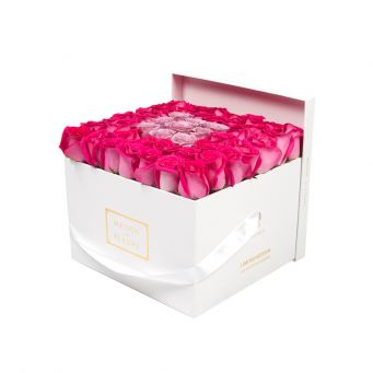 Fuchsia Roses in White Square Box with 9 Purple Roses