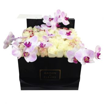 Light Purple Orchid Stems and White Roses