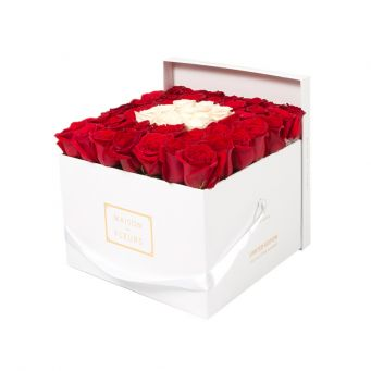 Red Roses in White Square Box with 9 White Roses
