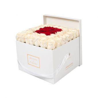 Cream Roses in White Square Box with 9 Red Roses