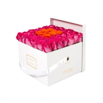 Fuchsia Roses in White Square Box with 9 Orange Roses
