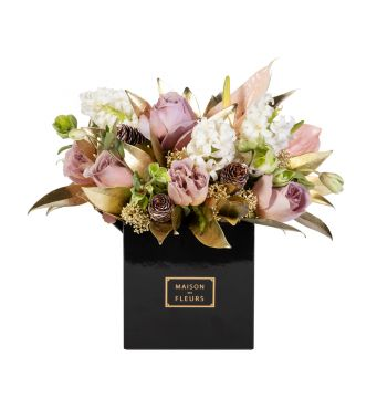 Mix of roses, hyacinths and Gold skimmia in a 15x15 cm Black square box