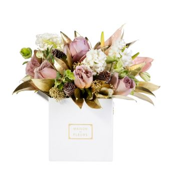 Mix of roses, hyacinths and Gold skimmia in a 15x15 cm White square box