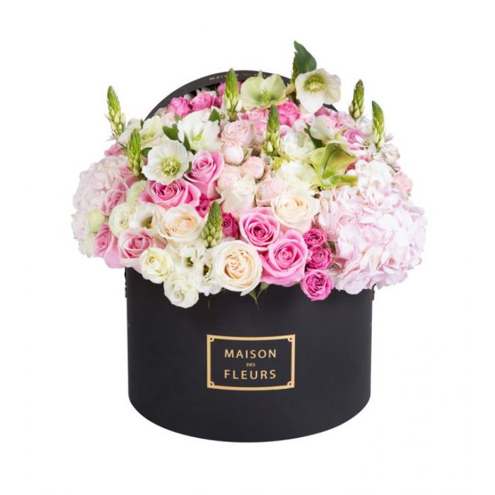 Pink And Cream Roses With Mixed Fresh Flowers Arrangement In A 30x20cm Black Round Box