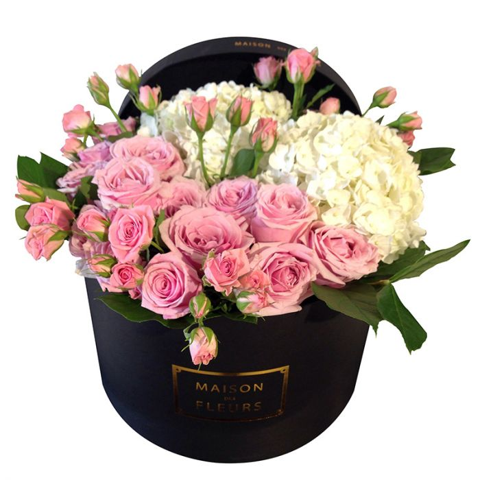 Pink roses and white flowers in black round box maison des fleurs mightylinksfo